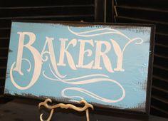 BAKERY Sign/Handpainted/Home/Business/Black/Sky Blue/White on Etsy, $15.95