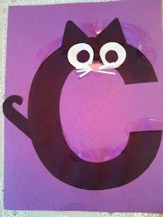 letters, kindergarten, preschool, alphabet craft, c cat craft, alphabet animals,c is for cat