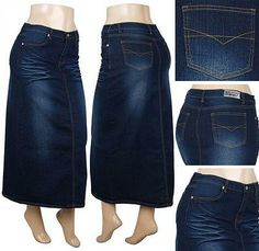 LINDZEY LONG DARK JEAN DENIM SKIRT NO SLIT, NO FLY from See-More ...