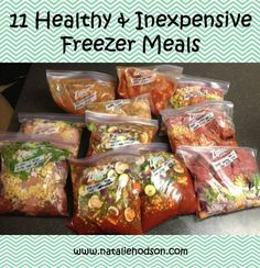 11 Healthy & Inexpensive Freezer Meals!  This mom shows how she prepped her healthy meals to have in the freezer for when new baby came.  Good ideas for healthy meals to bring over for new moms too.