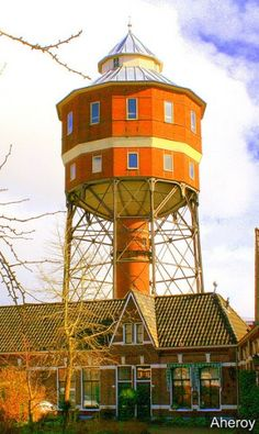 Groningen Water Tower, The Netherlands.  Though this old water tower in the Dutch city of Groningen is made of bricks, it has kept the trademark spherical style of water towers, perched on top of a single pillar. The old water tower was converted into living quarters, with ample windows and a picturesque tower room on top. For reinforcement, the repurposed tank now rests on a 12-sided steel frame.