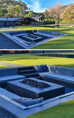 Backyard Design Idea – Create A Sunken Fire Pit For Entertaining Friends The design of this modern backyard includes a sunken firepit surrounded by seating to accommodate and entertain a large group of people. Backyard Pool Landscaping, Backyard Seating, Backyard Pergola, Fire Pit Backyard, Modern Landscaping, Diy Patio, Landscaping Ideas, Pergola Kits, Outdoor Pergola