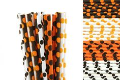 Orange and Black Polka Dot Paper Straw Mix-Orange Straws-Black Straws-Polka Dot Straws-Pumpkin Party Straws-Halloween Paper Straws #babyshowerideas4u #birthdayparty  #babyshowerdecorations  #bridalshower  #bridalshowerideas #babyshowergames #bridalshowergame  #bridalshowerfavors  #bridalshowercakes  #babyshowerfavors  #babyshowercakes