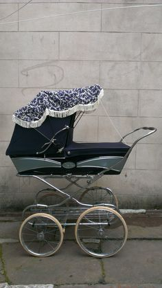 Lovely Vintage 1970s Silver Cross Pram 'The Portman' Blue Grey Fold Down Frame | eBay