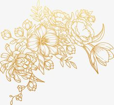 Vector painted golden flowers, Vector, Hand Painted, Golden PNG and Vector