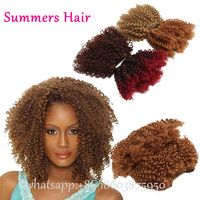 "Mixed Synthetic Jerry Curl Synthetic Hair Extensions 8"" 100gran 2pcs/Pack Short Hair Weaving Ombre Hair Extensions"