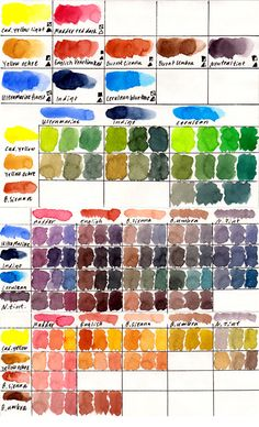 My palette 10 colours of Schmincke Horadam Aquarell. And some of the mixes you can get of them.