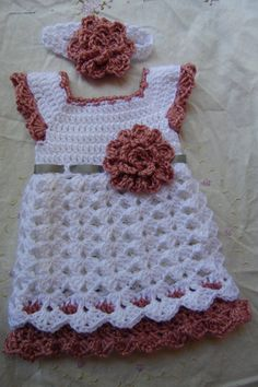 Newborn Baby Girl Dress & Headband Set Ready To by StonehouseGals
