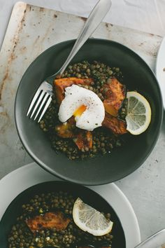 Lentils and Roasted Acorn Squash + Poached Egg