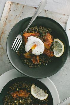 Lentils + Roasted Acorn Squash + Poached Egg