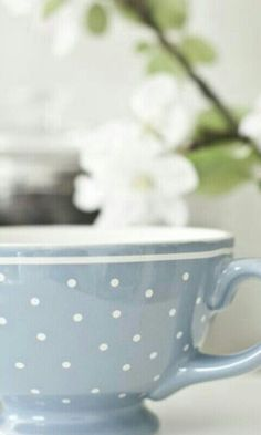 lovely sky blue w/polka-dot's 'cup'pa tea'. Coffee Cups, Tea Cups, Coffee Time, Morning Coffee, White Cottage, My Cup Of Tea, My Favorite Color, Tea Set, Shades Of Blue