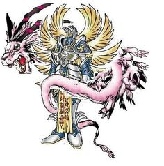 It's my favorite Digimon, Seraphimon!  Oh and some pink dragon no one cares