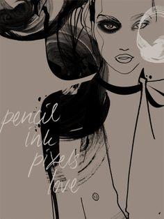 pencil ink pixels love gicle art print by mette boesgaard