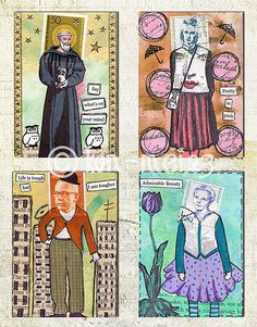 by Birgit - Postage People Revisited Postage Stamp Art, Envelope Art, Postcard Art, Atc Cards, Art Journal Pages, Art Journaling, Artist Trading Cards, Altered Art, Writing