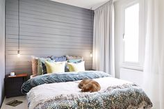 Love the wooden shiplap wall behind bed and floor to ceiling curtains Wall Behind Bed, Floor To Ceiling Curtains, Master Bedroom, Bedroom Decor, Ship Lap Walls, Wooden Walls, Beautiful Homes, Interior Design, Furniture