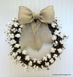 Have you joined the cotton boll band wagon yet? I love it's rusticity. I made a wreath using faux cotton boll branches and a grapevine wreath. If you want to make your own, you'll need an 18