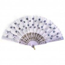 Vintage Sequin Embroidered Hand Fan - Classic White