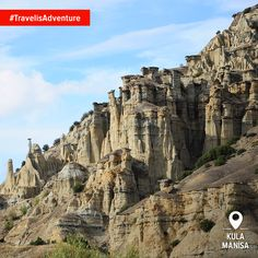"""Stunning rock formations have led this Global Geopark Network to be called the """"Cappadocia of the Aegean"""" or even """"Kuladocia! Turkey Travel, Cappadocia, Rock Formations, Nice To Meet, Greatest Hits, Holiday Travel, Mount Rushmore, Adventure, Mountains"""