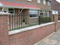 Decoration Marvelous Wrought Iron Railings Design For Home: Delightful Wrought Iron Railings Design With Black Carving Style And Red Brick Gates Balcony Railing Design, Rail Fence, Outdoor Spaces, Outdoor Decor, Red Bricks, Fencing, Wrought Iron, Iron Railings, Carving