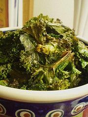 Kale Chips!  Kale is a super food, and these couldn't be easier!  Rinse kale, pat dry, toss with EVOO and salt.  Bake at 350 for about 18 minutes.  Healthy alternative for a potato chip!