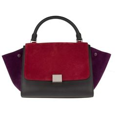 Celine Handle Bag - Small Trapeze Bag Burgundy - in red, purple, black... (26.913.125 IDR) ❤ liked on Polyvore featuring bags, handbags, shoulder bags, purple purse, red handbags, top handle handbags, evening purses and purple shoulder bag