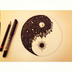 A design of opposite in yin yang Yen Yang, Ying Y Yang, Doodles, Art Plastique, Ink Art, Cool Drawings, Painting & Drawing, Amazing Art, Cool Art