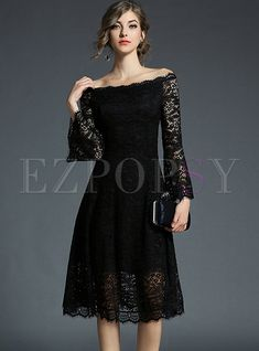Shop for high quality Black Elegant Lace Slash Neck A-line Dress online at cheap prices and discover fashion at Ezpopsy.com