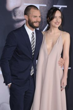 Jamie Dornan and Dakota Johnson Keep Things Light at the Fifty Shades Darker Premiere