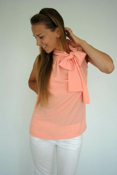 Coral Peach Top- Summer Airy Sensual Bow Blouse Small Medium on Etsy, $50.00
