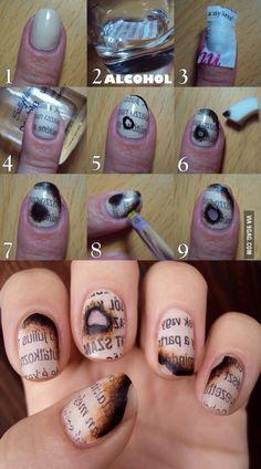 Burned newspaper on nails