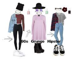 """90s Grunge/Hipster"" by stellaluna899 ❤ liked on Polyvore featuring AX Paris, Miss Selfridge, Essie, Monki, NIKE, Vans, INDIE HAIR, Topshop, Levi's and J Brand"