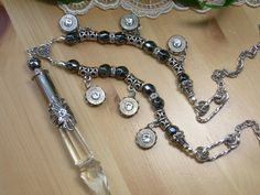 Bullet Jewelry Winchester 357 Chandelier Crystal Necklace with Hematite by MyTabbyBoutique, $72.00