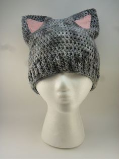 Kitty Cat Ears Beanie  Shades of Grey Gray with by LilacsLovables