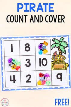 Free Printable Activities for Kids This pirate counting math activity is a fun way to learn numbers and counting in preschool and kindergarten. Pirate Preschool, Pirate Activities, Printable Activities For Kids, Counting Activities, Preschool Printables, Kindergarten Activities, Preschool Activities, Preschool Names, Geography Activities