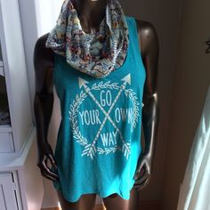 Go Your Own Way Tank & Scarf Juniors size xxl. Shown on a women's size medium mannequin. Runs small!! More turquoise than pictures show. Retail $29.99. Comes with scarf. Scarf does have one small hole, not noticeable when worn. Price firm. Self Esteem Tops Tank Tops