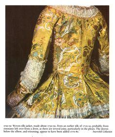 """Snowshill Manor costume collection;  Yellow brocade jacket.  Photo from 1988 edition of Nancy Bradfields's  """"Costume in Detail"""""""