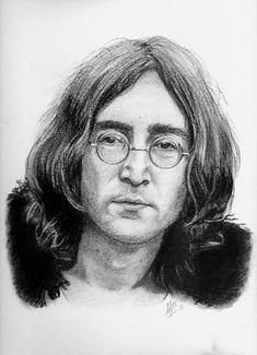 Portrait of John Lennon, charcoal and black stone ralis, on canson paper, september for a customer order John Lennon, Beatles Band, The Beatles, Portrait Sketches, Portrait Art, Pencil Art Drawings, Art Drawings Sketches, Photomontage, Deer Sketch