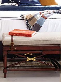 Inspired by traditional military furniture, the Campaign Bench with Linen Cushion brings retro class and style to your home and fits perfectly at the end of your bed.