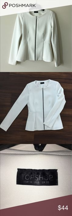 """TOPSHOP White Zip Front Peplum Waist Jacket White long sleeve """"neoprene"""" material. Contrast zip front and Peplum waist. No stains, holes or defects at all. Fits US size 6. Topshop Jackets & Coats"""