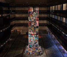 The Faile Tower installed in the atrium for the New York City Ballet, Lincoln Center for the Performing Arts. (photo © Jaime Rojo)