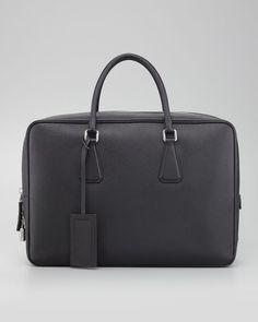 Prada - Saffiano Zip-Top Briefcase Bag, Black