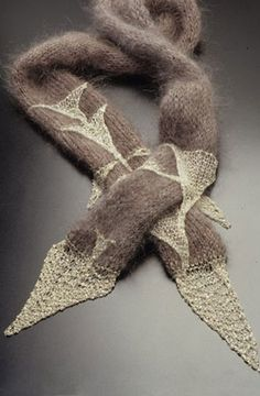 Flora Book, silver chain and yarn knit, very nice combination