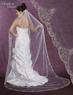 Regal Symphony Bridal 6001VL Beaded Embroidery Cathedral Wedding Veil - Affordable Elegance Bridal -
