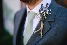 Groom Lavender Gypsophila Buttonhole Twine Ted Baker Sage Pretty Picturesque Outdoor Castle Wedding https://parkershots.com/