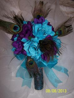 Bridal bouquet Wedding silk Flowers Peacock feathers turquoise purple plum blue