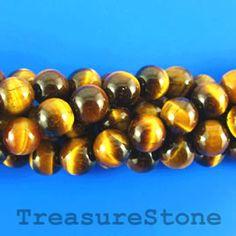 Bead, tigereye, 8mm round. 16-inch strand.