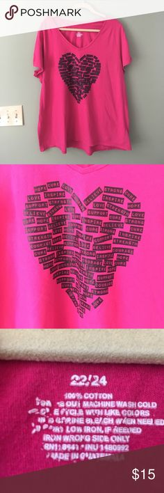 Lane Bryant size 2X short sleeve breast cancer tee Lane Bryant active size 22/24 short sleeve tshirt.  Bright pink tee with words forming a heart shape on front.  Words include hope, cure, love, support, believe, etc.  This shirt was only worn one or two times and is in EUC.  It comes from a smoke free and pet free home.  Bundle and save! Lane Bryant Tops Tees - Short Sleeve