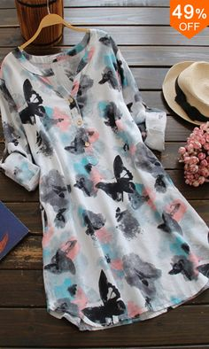Cheap Dresses, Buy Directly from China Suppliers:ZANZEA 2018 Women SummerO Neck Long Sleeve Long Shirt Vintage Floral Print Mini Dress Casual Loose Cotton Vestido Plus Size Vestidos Vintage, Vintage Dresses, Cute Dresses, Casual Dresses, Summer Dresses, Mini Dresses, Cheap Dresses, Floral Dresses, Casual Wear