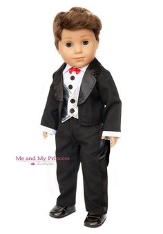 Doll Clothes for American Boy Doll - Black Tuxedo and Dress Shoes Outfit