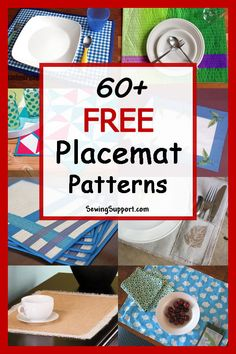 Over 60 Free Placemat (Place mat) sewing patterns, tutorials, and diy projects. Many quilted designs, and simple & easy designs. Instructions for how to make placemats. #diyhome #sewingpatterns #sewingprojects